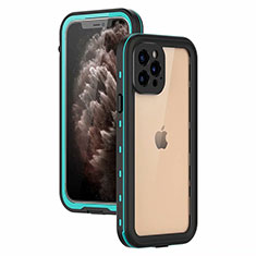 Funda Impermeable Bumper Silicona y Plastico Waterproof Carcasa 360 Grados para Apple iPhone 12 Pro Cian