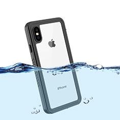Funda Impermeable Bumper Silicona y Plastico Waterproof Carcasa 360 Grados para Apple iPhone Xs Negro
