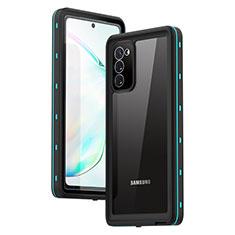 Funda Impermeable Bumper Silicona y Plastico Waterproof Carcasa 360 Grados para Samsung Galaxy Note 20 5G Cian