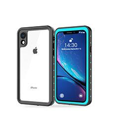 Funda Impermeable Bumper Silicona y Plastico Waterproof Carcasa 360 Grados W01 para Apple iPhone XR Cian