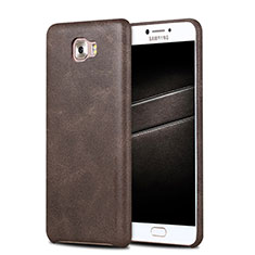 Funda Lujo Cuero Carcasa L01 para Samsung Galaxy C7 Pro C7010 Marron