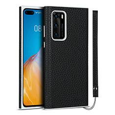 Funda Lujo Cuero Carcasa N01 para Huawei P40 Negro