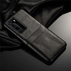Funda Lujo Cuero Carcasa N06 para Huawei P40 Pro Negro