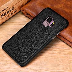 Funda Lujo Cuero Carcasa P01 para Samsung Galaxy S9 Plus Negro