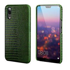 Funda Lujo Cuero Carcasa P03 para Huawei P20 Verde