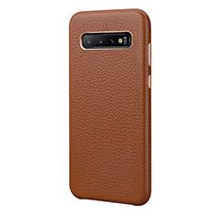 Funda Lujo Cuero Carcasa P03 para Samsung Galaxy S10 Plus Marron