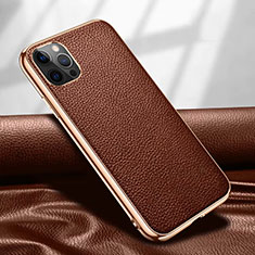 Funda Lujo Cuero Carcasa para Apple iPhone 12 Pro Marron