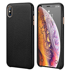 Funda Lujo Cuero Carcasa para Apple iPhone XR Negro