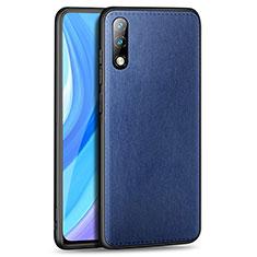 Funda Lujo Cuero Carcasa para Huawei Enjoy 10 Azul
