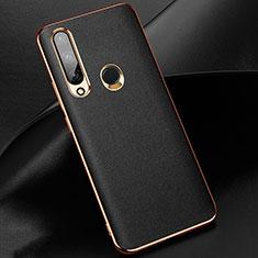 Funda Lujo Cuero Carcasa para Huawei Enjoy 10 Plus Negro