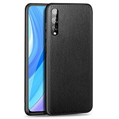 Funda Lujo Cuero Carcasa para Huawei Enjoy 10S Negro