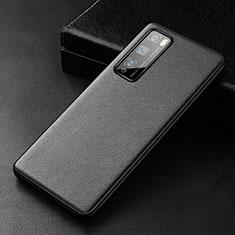 Funda Lujo Cuero Carcasa para Huawei Enjoy 20 Pro 5G Negro