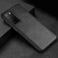 Funda Lujo Cuero Carcasa para Huawei Honor Play4 5G Negro