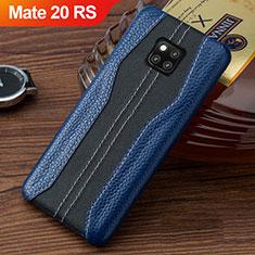 Funda Lujo Cuero Carcasa para Huawei Mate 20 RS Azul y Negro
