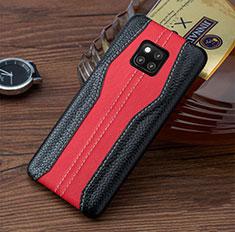 Funda Lujo Cuero Carcasa para Huawei Mate 20 RS Rojo y Negro