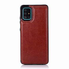 Funda Lujo Cuero Carcasa para Samsung Galaxy A51 5G Marron