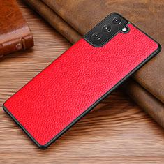 Funda Lujo Cuero Carcasa para Samsung Galaxy S21 5G Rojo