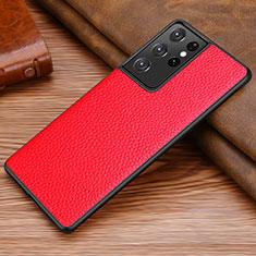 Funda Lujo Cuero Carcasa para Samsung Galaxy S21 Ultra 5G Rojo