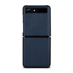 Funda Lujo Cuero Carcasa para Samsung Galaxy Z Flip Azul