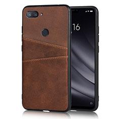 Funda Lujo Cuero Carcasa para Xiaomi Mi 8 Lite Marron