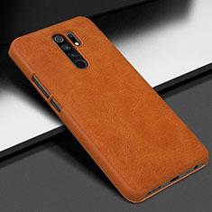 Funda Lujo Cuero Carcasa para Xiaomi Redmi 9 Prime India Naranja