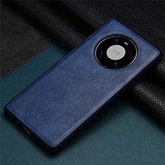Funda Lujo Cuero Carcasa R01 para Huawei Mate 40 Azul