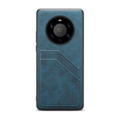 Funda Lujo Cuero Carcasa R01 para Huawei Mate 40 Pro+ Plus Azul