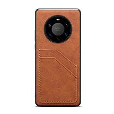 Funda Lujo Cuero Carcasa R01 para Huawei Mate 40 Pro+ Plus Marron