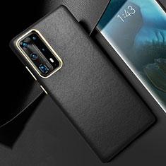 Funda Lujo Cuero Carcasa R01 para Huawei P40 Pro+ Plus Negro