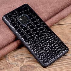 Funda Lujo Cuero Carcasa R02 para Huawei Mate 20 Pro Negro