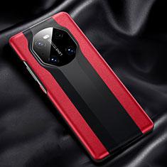 Funda Lujo Cuero Carcasa R02 para Huawei Mate 40 Rojo