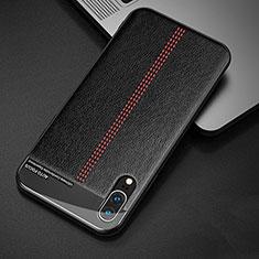 Funda Lujo Cuero Carcasa R02 para Huawei P20 Negro