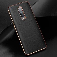 Funda Lujo Cuero Carcasa R02 para OnePlus 8 Negro