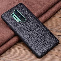 Funda Lujo Cuero Carcasa R03 para OnePlus 8 Pro Negro