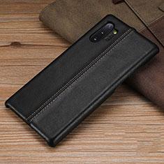 Funda Lujo Cuero Carcasa R03 para Samsung Galaxy Note 10 Plus 5G Negro