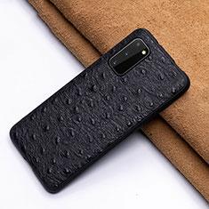Funda Lujo Cuero Carcasa R03 para Samsung Galaxy S20 5G Negro