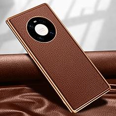 Funda Lujo Cuero Carcasa R04 para Huawei Mate 40 Pro Marron