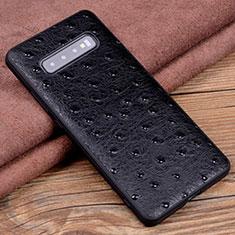 Funda Lujo Cuero Carcasa R04 para Samsung Galaxy S10 Plus Negro