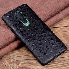 Funda Lujo Cuero Carcasa R05 para OnePlus 8 Negro