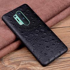 Funda Lujo Cuero Carcasa R05 para OnePlus 8 Pro Negro