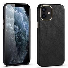 Funda Lujo Cuero Carcasa R06 para Apple iPhone 12 Negro