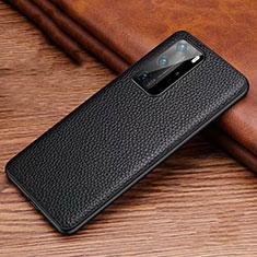 Funda Lujo Cuero Carcasa R06 para Huawei P40 Pro Negro