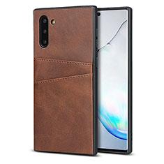 Funda Lujo Cuero Carcasa R06 para Samsung Galaxy Note 10 5G Marron