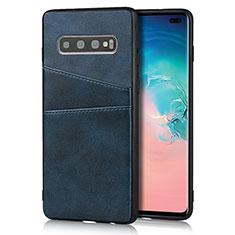 Funda Lujo Cuero Carcasa R06 para Samsung Galaxy S10 Plus Azul