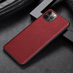 Funda Lujo Cuero Carcasa R07 para Apple iPhone 12 Pro Rojo