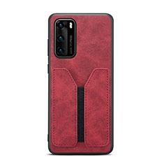 Funda Lujo Cuero Carcasa R07 para Huawei P40 Rojo