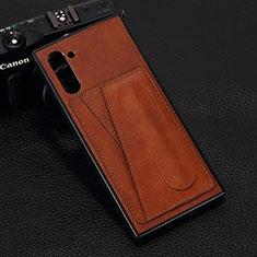 Funda Lujo Cuero Carcasa R07 para Samsung Galaxy Note 10 5G Marron