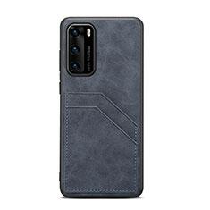 Funda Lujo Cuero Carcasa R08 para Huawei P40 Negro