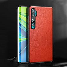 Funda Lujo Cuero Carcasa R08 para Xiaomi Mi Note 10 Rojo