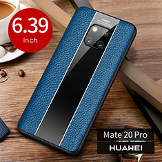 Funda Lujo Cuero Carcasa S01 para Huawei Mate 20 Pro Azul